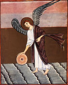 An angel picking up a millstone, ready to throw it into the sea