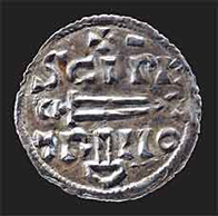 Image of a silver 'St Peter' penny from York