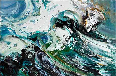 Image result for artwork of a storm crashing waves against the Norfolk coast