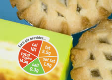 The packaging for some pies shows nutritional information in an easy-to-understand way, using green, amber and red to show many fats, sugars, etc the food contains.