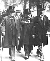 David Lloyd George, Georges Clemenceau and Woodrow Wilson arriving at the Versailles Peace Conference in 1919
