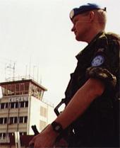 UN soldier on guard at Kigali Airport, Rwanda
