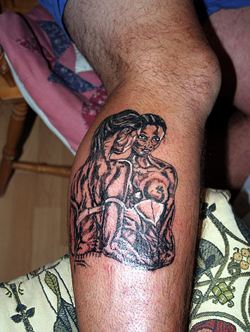Show us your Tattoos! Tattoo. Big Alan's unfinished pin-up girl by Bob