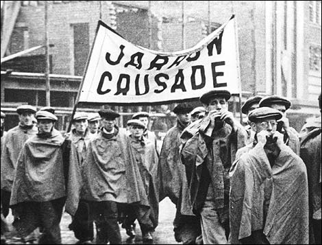 It is compulsory for Labour Party members to illustrate any mention of unemployment with a picture of the Jarrow Marchers.