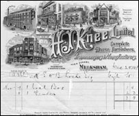 A vintage Knees receipt