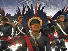 Índios brasileiros durante Fórum Social Mundial