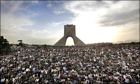 Hundreds of thousands of supporters of opposition presidential candidate Mir Hossein Mousavi turn out to protest the result of the election at a rally in Azadi (Freedom) Square in Tehran, June 15, 2009
