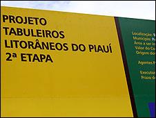 Cartel indicando el sitio del proyecto Agrobrasil Bioenergía