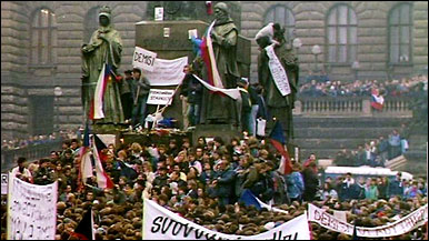 Prague, 1989 Demonstrators on Wenceslas Square