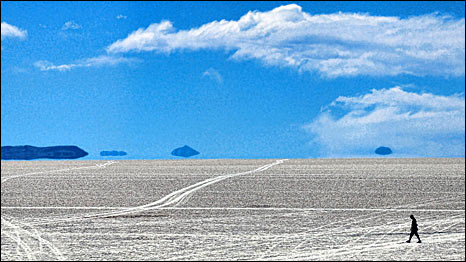 The Uyuni salt flats, Bolivia, home to one of the world's richest despoits of lithium