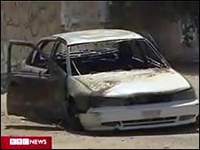 Automóvil civil tras ataque de Blackwater en Bagdad