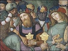 """Detalle de """"Adoración de los Pastores"""" de Bernardino Pinturicchio"""