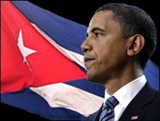Barack Obama retallat sobre la bandera cubana