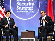 Hu Jintao (izq.) y Barack Obama