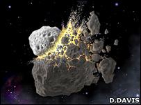 Tabrakan kemungkinan terjadi di sabuk asteroid