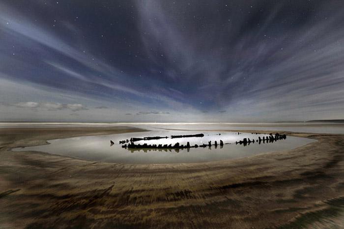 Moonlight Series Wreck of the Sally Postcard - Mike Bentley
