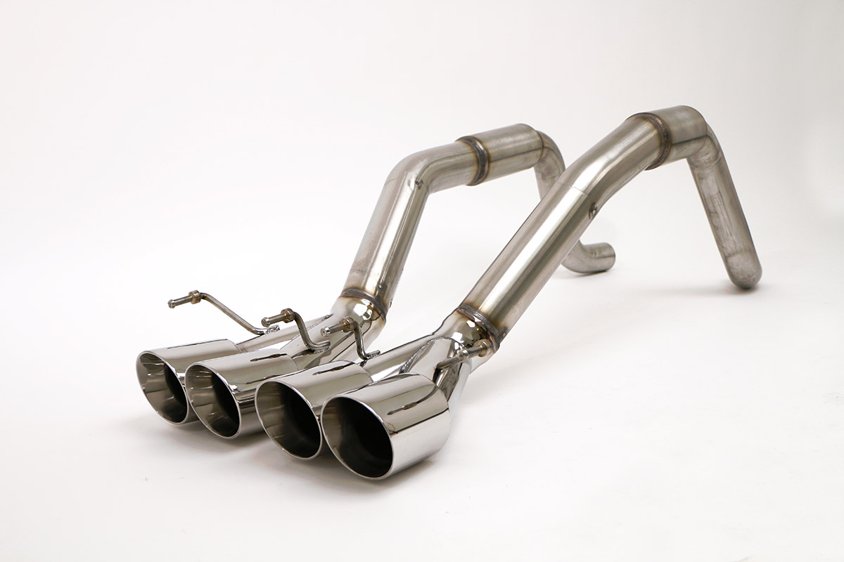 chevy c6 corvette bullet axle back exhaust system round tips fcor 0415