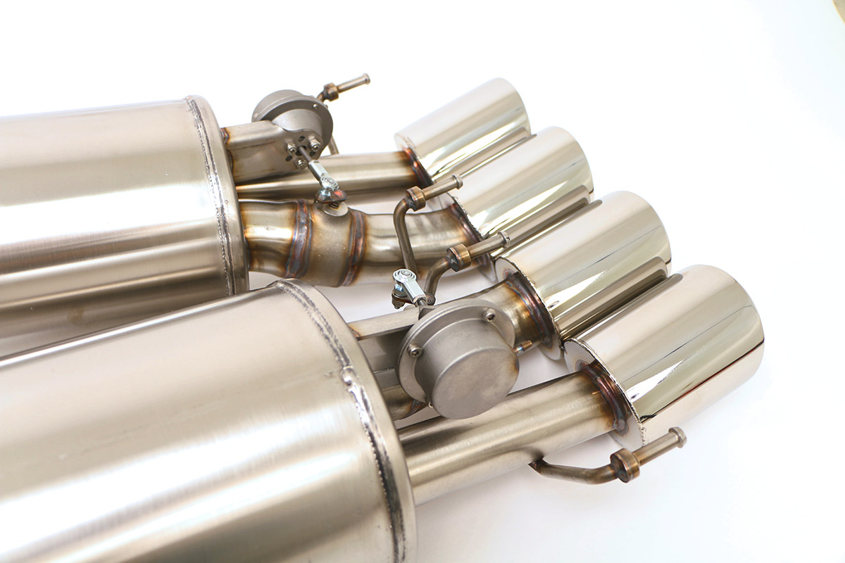 chevy c6 corvette fusion exhaust system for factory npp round tips fcor 0464
