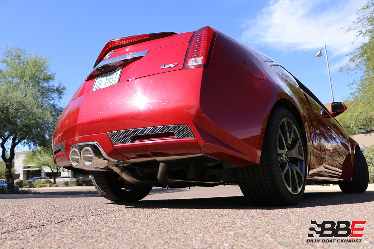 cadillac cts v coupe cat back exhaust system with x pipe round tips fdom 0325