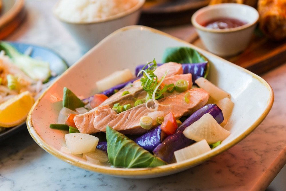 "romulo cafe Scottish Salmon Tamarind ""Sinigang"" Stew"