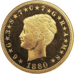 1880 $4 Gold Stella, Coiled Hair rare united states coin