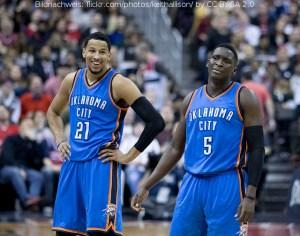 US - Action - Oklahoma City Thunder - Andre Roberson - Victor Oladipo