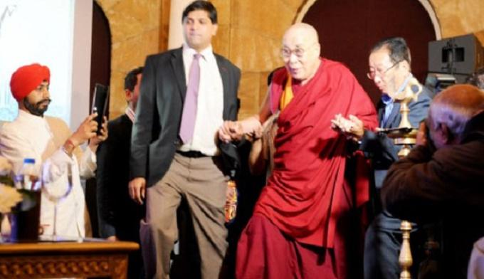 Tibetan spiritual leader Holiness Dalai Lama inaugurating the Tawazun India and Peace for Economy conference in Bangalore