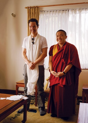Cumberbatch was all smiles when he got the chance to refresh his Buddhist connection on a visit to a Tibetan monastery in Nepal during the filming of Doctor Strange. Photo by Tenzing Rikksang.