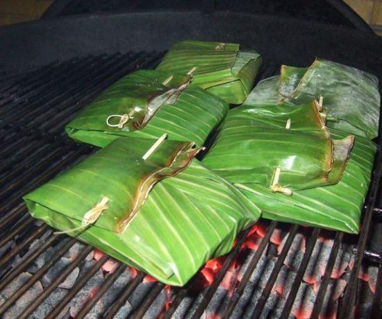 Maleisische zwaardvis in bananenblad