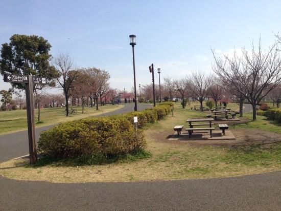大島小松川公園バーベキュー場の備え付けテーブル、ベンチ