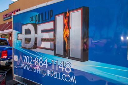 Close-up of the Chef Phillip Dell BBQ Truck Logo