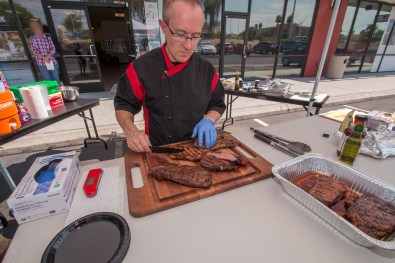 Chef Phillip Dell cutting into this perfectly grilled steak at our Back to Basics Grilling Class - Saturday, September 16th 2017