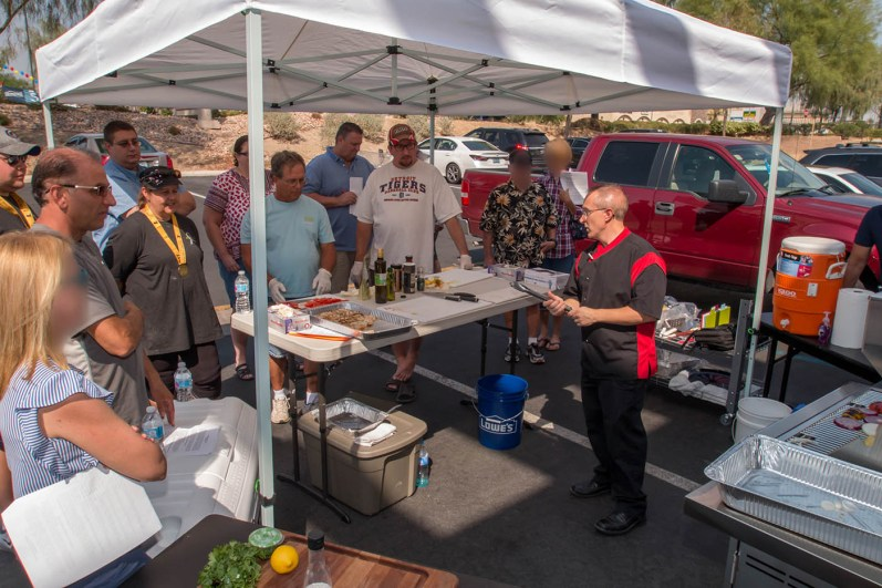 Chef Phillip Dell instructing the premiere Back to Basics Grilling class at our showroom located here in Las Vegas, Nevada