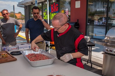 Chef Phillip Dell prepping basic hamburger meat for the Back to Basics Grilling Class at BBQ Concepts of Las Vegas, Nevada
