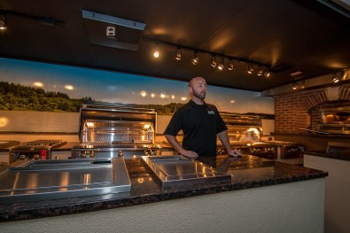 John Cerul of BBQ Concepts Inside the Almo Trailer