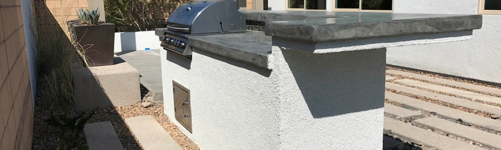 Custom Poured Concrete Outdoor Kitchen Counter-top - Built-in 32 Inch Summerset Barbecue Grill