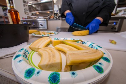 Slicing and Prepping Grilled Bananas Foster