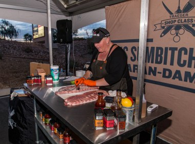 In this photo, Danielle Bennett of Diva Q is working with Raw rib meat. Traeger Barbecue Classics Shop Class at BBQ Concepts of Las Vegas, Nevada. #TraegerShopClass #DivaQ #BBQConcepts #LasVegas #Nevada #TeamTraeger