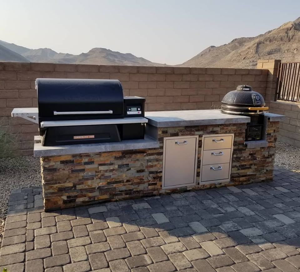 outdoor kitchen, outdoor kitchens, outdoor living, ourdoor living space, custom outdoor kitchen, custom outdoor kitchens, las vegas, nevada, traeger, timberline 1300, butterscotch stacked stone, kamado, kamado b-series, kamado b series, vision grills, traeger grills, professional outdoor kitchens, bbq, bbq islands, bbq island, barbecue island, barbecue islands