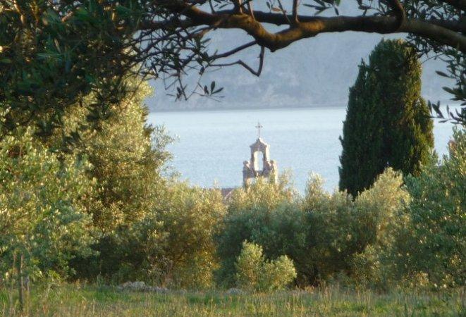Ausblick auf Kirchturm am Meer inmitten eines Gartens