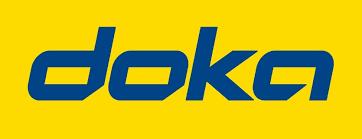 Doka Logo - Schriftzug in blauer Schrift mit gelbem Hintergrund