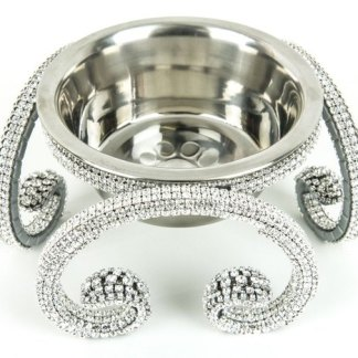 DWB 111 CLEAR bb Simon Dog Bowl Silver Swarovski Crystal