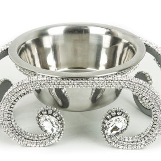 DWB 117 Clear bb Simon Swarovski Crystal Dog Cat Pet Bowl