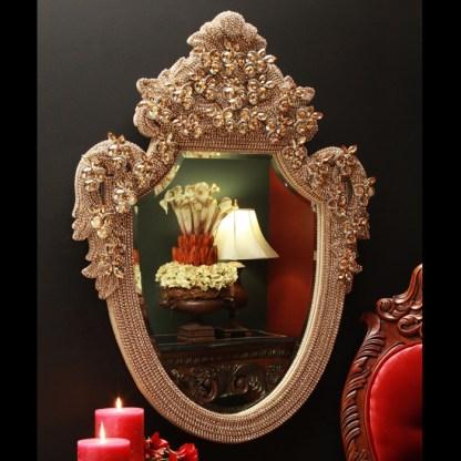 M-202-BB Simon Gold Framed Wall Bling Mirror