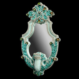M-208 BB Simon Clear Turquoise Jeweled Mirror