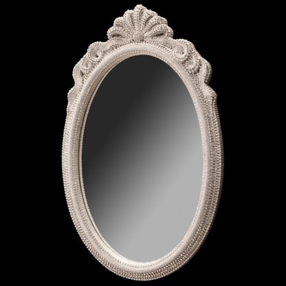 M-529-CLEAR BB Simon White Oval Crystal Mirror
