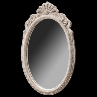 M-529-CLEAR BB Simon White Oval Crystal Mirror