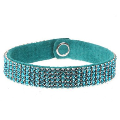 MESH CUFF-5ROW-BLUE ZIRCON