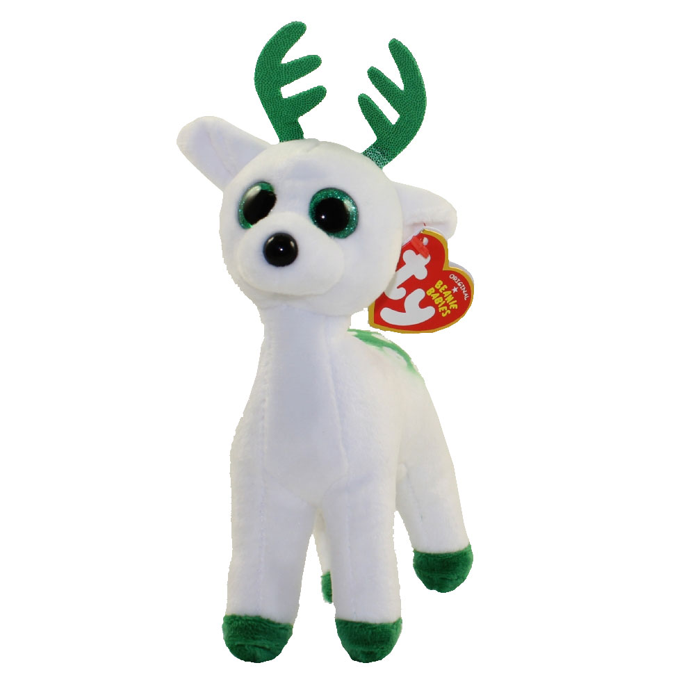 TY Beanie Baby PEPPERMINT The Green Amp White Reindeer
