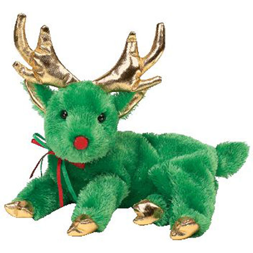 TY Beanie Baby SLEIGHBELLE The Reindeer Green Version